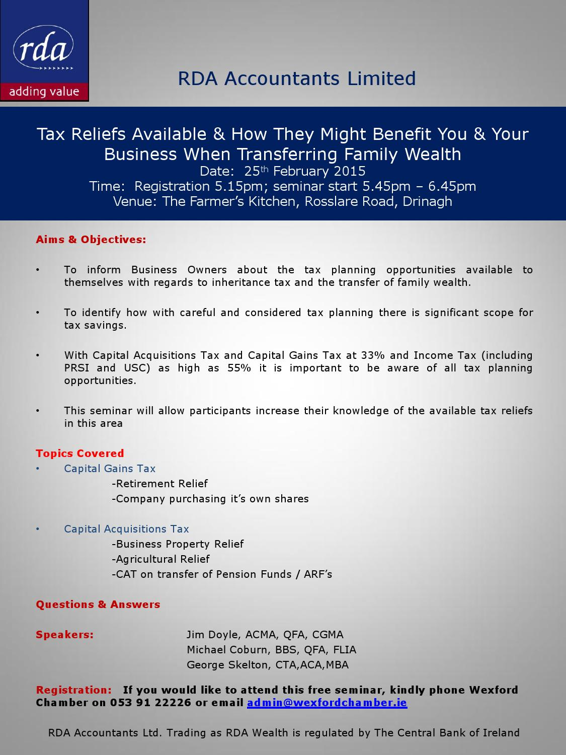business seminar report inheritance tax Join us for a 2018 tax law seminar including business week 2018 the living trust seminar - inheritance planning for you and your family.